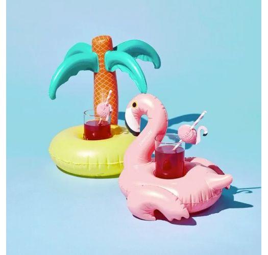 Gummiringe til glas designet som en lyserød flamingo og et palmetræ - FLOAT FUN TROPICAL