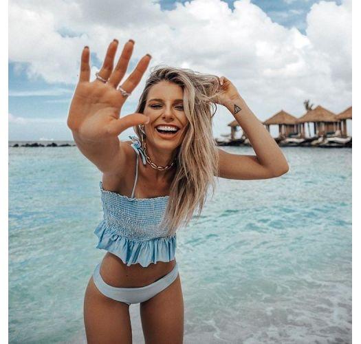 Himmelblaue schlichte Bikinihose - BOTTOM CROPPED LISO AZUL