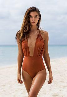 Copper-colour lurex deeply plunging one-piece swimsuit - RADIANTE CANELA DECOTE PROFUNDO