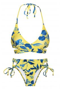 Yellow and blue print bikini with wrap top - LEMON FLOWER TRANSPASSADO