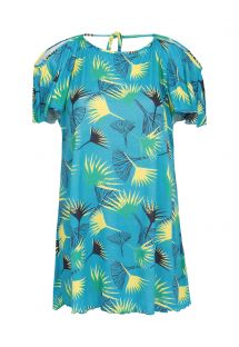 Blue graphic flowers beach dress bare shoulders - SAIDA FLOWER GEOMETRIC OFF SHOULDER
