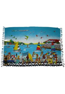This beach towel colorfully shows a fun day at the beach, reminding one of a day with friends and no worries. - CANGA RONALDINHO
