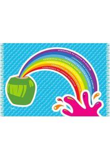 Sjov pareo med billeder af kokosnødder/regnbue CANGA COCONUT CARTOON