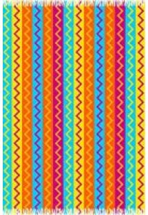 Pareo with multi-coloured zigzag stripes  - CANGA MISSONI