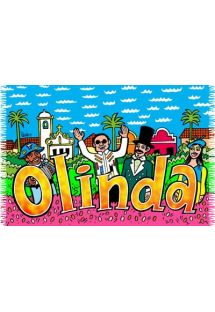The fun cartoon drawings on this towel are sure to brighten your day when you use it.  - CANGA OLINDA CARTOON