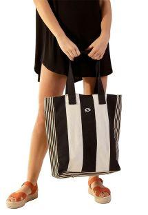 Beach bag with black and white stripes - BOLSA LULE MULTI LISTRAS 2
