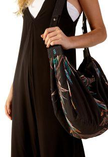 Black beach bag in colorful feathers - BOLSA NANI YAPI