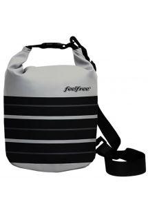 Grey waterproof bag in black stripes 3 L - TUBE MINI 3L PARIS CHIC