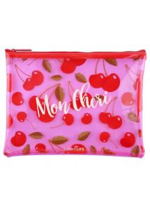 Cherry printed plastic pouch - SEE THRU POUCH CHERRY