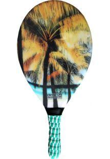 Palm tree print frescobol paddle - RAQUETE FIBRA ESTAMPADA CP15E