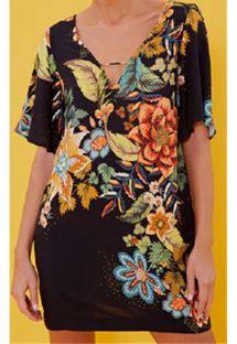 カラフルな花柄の黒いショートビーチドレス - VESTIDO CURTO PRIMAVERA LINDA