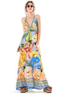 カラフルな花柄ロングオープンバックビーチドレス - VESTIDO LONGO DESEJO DE CHITA