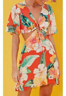 トロピカルな花柄入りのオリジナルビーチドレス - VESTIDO MANGA CHITA TROPICAL