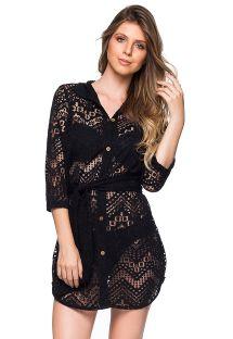 Schwarzes Strand-Shirt-Kleid mit Lochmuster - DEVORE PRETO