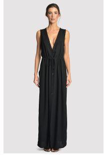 Long black deep neckline beach dress with pockets - LONG DETAIL COVER UP BLACK