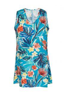 Blue floral sleeveless beach dress - DRESS ISLA