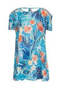 Floral print blue dress with bare shoulders - SAIDA ISLA OFF SHOULDER