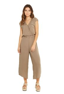 Khaki 7/8 suit with chest pockets - INES VERDE