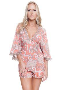 Coral & beige beach romper with kimono style sleeves - JORDIN CASHMIRE