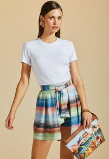 Colorful beach shorts - skirt style - SHORT SAIA IMPRESSIONISMO