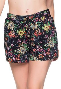 Black floral beach short - BOTTOM BABADO DREAM