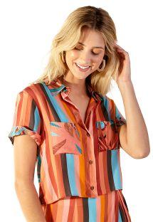 Tropical stripes shirt beach top - BRUNA PALMAR