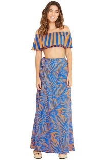 Off-shoulder blue beach top - CROPPED CAYENA