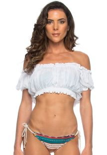 White crop-top style beach top with Bardot neckline - CROPPED CIGANINHA BRANCO