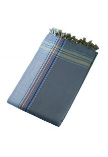 Beach towel and pareo - reversible blue / dark grey - KIKOY CUBA LIBRE