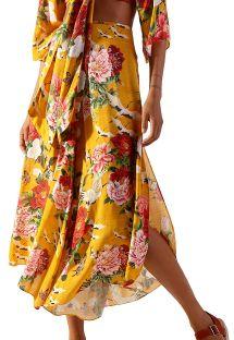 Yellow beach pants in floral pattern - CALCA XANGAI