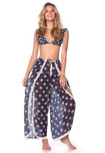 Navy beach dress in white polka dot print and crochet - FLOWING PANTS NAVY POLKA