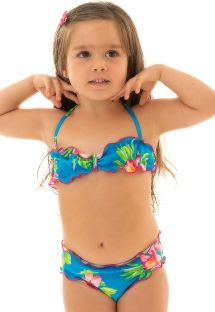 Floral bikini bandeau for girl - HOOKERI GIRL