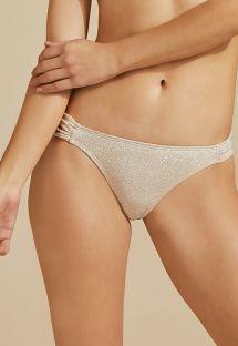 Luxus-Bikinihose in Nude mit silbernem Lurex - BOTTOM BOJO DUPLA FACE