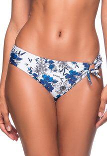 Blaugeblümte einseitig geschnürte Bikinihose - BOTTOM TQC TRANSPASSADO ATOBA