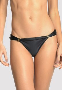 Black luxurious accessorized bikini bottom - BOTTOM ADJUSTABLE HALTER BLACK