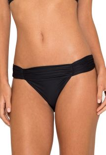 Luxurious black bikini bottom with pleated waist - BOTTOM GAIVOTA