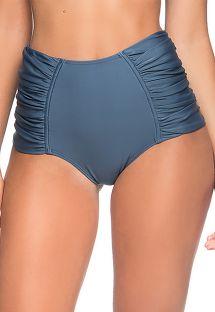 Dunkelblaue plissierte High-Waist-Bikinihose - BOTTOM METAL ELEGANCE