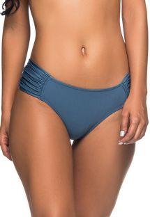 Dunkelblaue Bikinihose mit plissierten Seiten - BOTTOM NO ELEGANCE