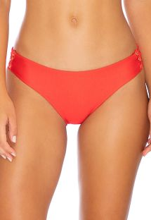 Red fixed bikini bottom with laced sides - BOTTOM MAMBO FULL RED
