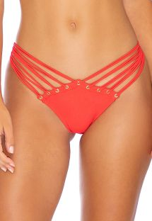 Red strappy scrunch bikini bottom - BOTTOM MAMBO STRAPPY RED