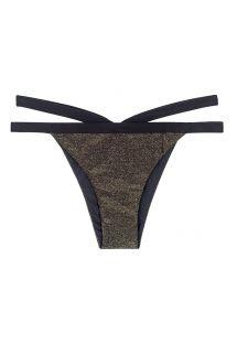 חלק תחתון בסגנון ברזילאי עשוי אריג לורקס עם רצועות כפולות צבע שחור - CALCINHA TRIANGULO RADIANTE