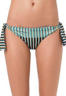 Side-tie Brazilian bikini bottom blue stripes - BOTTOM PASSADOR GAROUPA