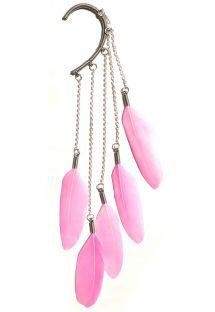 Обица тип маншет с�розови пера - Pink Dangle feather ear cuff