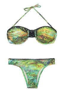 Bikini forma balconet verde con aros y macramé - GREEN SERENADE