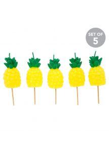 5er-Set Ananas-Steckkerzen - PINEAPPLE CAKE CANDLE