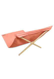 Orange deckchair from canvas and pine, 140x70cm - NEO TRANSAT ABRICOT