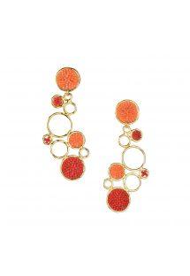 Stylish gold earrings with orange pearls - BUBBLE EARRING-GP-L-7817