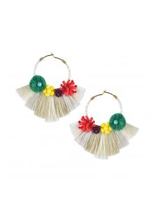 Round colorful earrings with white tassels - CARTAGENA EARRING-BE-S-7671