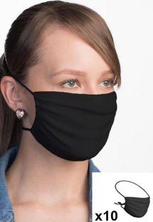Lot de 10 masques tissu noir réglables réutilisables - 10 x FACE MASK BBS02 2 LAYERS