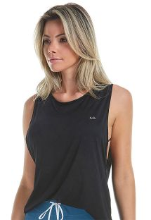 Black fitness tank top with indented sides - TOP ATLANTA